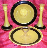 Image for Diamond Glass-Ware Company Yellow & Black Vintage 1930s Depression Glass 4-Piece Console Set (Compote, Candle Holders) & Tidbit Tray <b><span style='color:red'>  *****PARCEL POST SHIPPING INCLUDED – DOMESTIC ORDERS ONLY!*****  </span></b><span style='color:purple'>