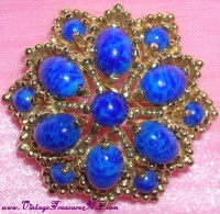 Image for Panetta Brooch/Pin Lapis Lazuli Royal Blue-colored & Gold Metalwork Flower-shaped STUNNING!  <b><span style='color:red'>  *****FIRST CLASS SHIPPING INCLUDED – DOMESTIC ORDERS ONLY!*****  </span></b><span style='color:purple'>