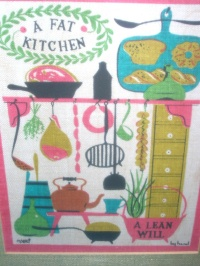 "Image for Amish-Quakers Imagery ""A Fat Kitchen, A Lean Will"" Folk Art Saying Vintage Robert Darr Wert-by-Hand Shabby Chic Framed Linen Tea Towel Textile Picture  <b><span style='color:red'>  *****PRIORITY MAIL SHIPPING INCLUDED – DOMESTIC ORDERS ONLY!*****  </span></b><span style='color:purple'>"