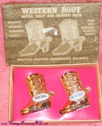 Image for Montana Western Boots Vintage ca 1950s-1970s Miniature Salt & Pepper Shakers Remembrance Souvenirs Set Mint in Box<b><span style='color:red'>  *****FIRST CLASS SHIPPING INCLUDED – DOMESTIC ORDERS ONLY!*****  </span></b><span style='color:purple'>