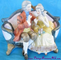 Image for Royal Crown Jonathan Byron Colonial Courting Couple Seated on Loveseat Sofa Vintage Bisque Figurine <b><span style='color:red'>  *****PRIORITY MAIL SHIPPING INCLUDED – DOMESTIC ORDERS ONLY!*****  </span></b><span style='color:purple'>