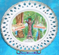 Image for California Redwoods Vintage ca 1940s-1950s Decorative Reticulated Souvenir Collectible Cabinet Display Plate <b><span style='color:red'>  *****PRIORITY MAIL SHIPPING INCLUDED – DOMESTIC ORDERS ONLY!*****  </span></b><span style='color:purple'>