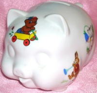 Image for Piggy Bank Vintage White Porcelain Decorated with Fairy Tale-Nursery Rhyme-Literary-Cartoon Transferware Animal Characters <b><span style='color:red'>  *****PRIORITY MAIL SHIPPING INCLUDED – DOMESTIC ORDERS ONLY!*****  </span></b><span style='color:purple'>