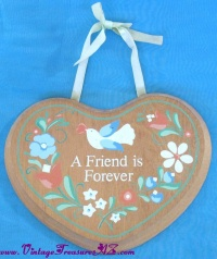 "Image for Friendship Toleware Plaque Heart-shaped ""A Friend Is Forever"" Vintage ca 1960s-1980s  <b><span style='color:red'>  *****FIRST CLASS SHIPPING INCLUDED – DOMESTIC ORDERS ONLY!*****  </span></b><span style='color:purple'>"