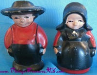 Image for Amish Husband & Wife Farmers Vintage Handpainted Red & Black Lead or Cast Iron Metal Figural Salt & Pepper Shakers Set <b><span style='color:red'>  *****1st CLASS SHIPPING INCLUDED – DOMESTIC ORDERS ONLY!*****  </span></b><span style='color:purple'>