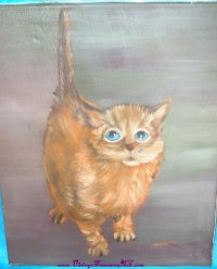 Image for Big-Eyed Startled Pity Kitty-Kitten-Cat Vintage ca 1960s-1970s Painting by Chenoweth  <b><span style='color:red'>  *****PARCEL POST SHIPPING INCLUDED – DOMESTIC ORDERS ONLY!*****  </span></b><span style='color:purple'>