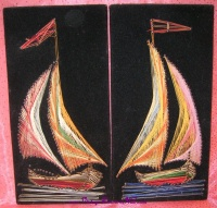Image for String Art Sailboats-Yachts Black Velvet Vintage ca 1960s-1970s Arts & Crafts Pictures Set  <b><span style='color:red'>  *****PRIORITY MAIL SHIPPING INCLUDED – DOMESTIC ORDERS ONLY!*****  </span></b><span style='color:purple'>