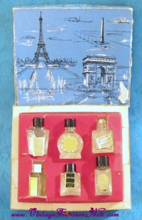 Image for Parfums De France Vintage ca 1940s-1950s Boxed Set of 6 Miniature Perfume Bottles  <b><span style='color:red'>  *****PRIORITY MAIL SHIPPING INCLUDED – DOMESTIC ORDERS ONLY!*****  </span></b><span style='color:purple'>