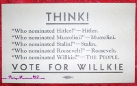 "Image for Willkie Vintage Presidential Election 1940 Republican Party Campaign Card Souvenir ""THINK! Vote for Willkie"" (Wendell Lewis Willkie)  <b><span style='color:red'>  *****FIRST CLASS SHIPPING INCLUDED – DOMESTIC ORDERS ONLY!*****  </span></b><span style='color:purple'>"