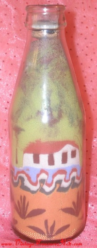 Image for Sand Art Bottle Bahamas/Caribbean Islands/Mediterranean/Adobe-like Homes Design <b><span style='color:red'>  *****PRIORITY SHIPPING INCLUDED – DOMESTIC ORDERS ONLY!*****  </span></b><span style='color:purple'>