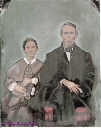 Image for Tintype Antique Color Ancestor Formal Portrait Abraham Lincoln-looking Man/Husband & Woman/Wife Large Full-Plate 8-inches x 10-inches <b><span style='color:red'>USPS PRIORITY MAIL SHIPPING INCLUDED – DOMESTIC ORDERS ONLY!</span></b><span style='color:purple'>