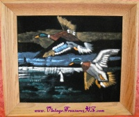 Image for Velvet Painting Ducks-Mallards-Drakes Flying Over a Marsh Vintage ca 1950s-1970s Framed  <b><span style='color:red'>  *****PARCEL POST SHIPPING INCLUDED – DOMESTIC ORDERS ONLY!*****  </span></b><span style='color:purple'>