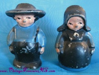 Image for Amish Husband & Wife Farmers Vintage Handpainted Blue & Black Lead or Cast Iron Metal Figural Salt & Pepper Shakers Set   <b><span style='color:red'>  *****1st CLASS SHIPPING INCLUDED – DOMESTIC ORDERS ONLY!*****  </span></b><span style='color:purple'