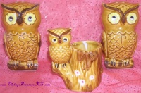 Image for Owl Salt & Pepper Shakers & Toothpicks Holder/Flower Posy/Miniature Planter Vintage Japan Ceramic 3-Piece Tableware Set <b><span style='color:red'>  *****PRIORITY MAIL SHIPPING INCLUDED – DOMESTIC ORDERS ONLY!*****  </span></b><span style='color:purple'>