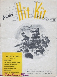 Image for Army Navy Hit Kit of Popular Songs Vintage 1944 April Issue Sheet Music Songbook <b><span style='color:red'>*****FIRST CLASS SHIPPING INCLUDED – DOMESTIC ORDERS ONLY!*****  </span></b><span style='color:purple'>