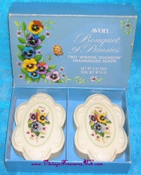 Image for Avon Bouquet of Pansies Vintage 1976 Fragranced Soaps Gift Set Mint-in-Box  <b><span style='color:red'>  *****FIRST CLASS SHIPPING INCLUDED – DOMESTIC ORDERS ONLY!*****  </span></b><span style='color:purple'>