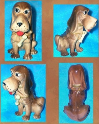 Image for Bloodhound Dog Figurine Wearing a Bone Around His Neck Vintage ca 1960s-1970s Made in Japan or England  <b><span style='color:red'>  *****PRIORITY MAIL SHIPPING INCLUDED – DOMESTIC ORDERS ONLY!*****  </span></b><span style='color:purple'>