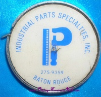 Image for Industrial Parts Specialties, Inc. Baton Rouge, Louisiana Vintage ca pre-1947 Machine Shop Pump Equipment & Parts Manufacturer Advertising Premium Giveaway Tape Measure  <b><span style='color:red'>  *****FIRST CLASS SHIPPING INCLUDED – DOMESTIC ORDERS ONLY!*****  </span></b><span style='color:purple'>