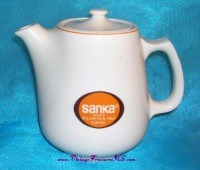 Image for Sanka Hall China Two (2)-Cup Vintage ca 1970s Advertising Premium Coffee Pot <b><span style='color:red'>  *****PRIORITY MAIL SHIPPING INCLUDED – DOMESTIC ORDERS ONLY!*****  </span></b><span style='color:purple'>