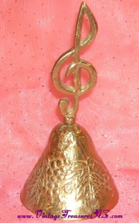 Image for Brass Bell with Musical Clef Note Symbol Finial Handle and Grapes & Leaves Embossed Decoration Vintage <b><span style='color:red'>  *****PRIORITY MAIL SHIPPING INCLUDED – DOMESTIC ORDERS ONLY!*****  </span></b><span style='color:purple'>