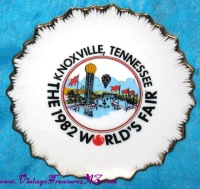 Image for World's Fair Knoxville, Tennessee 1982 Vintage 5-inch Souvenir Commemorative Decorative Elegant Fancy Wall Plate with Gilded Scalloped Edges <b><span style='color:red'>USPS PRIORITY MAIL SHIPPING INCLUDED – DOMESTIC ORDERS ONLY!</span></b><span style='color:purple'>