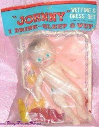 "Image for Johnny Wetting & Dress Set ""I Drink-Sleep-Wet"" Vintage Plastic Doll PLUS Accessories Mint-in-Package <b><span style='color:red'>*****PRIORITY MAIL SHIPPING INCLUDED – DOMESTIC ORDERS ONLY!*****  </span></b><span style='color:purple'>"