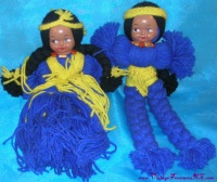 Image for Yarn Dolls Vintage Boudoir Dolls Pair Native American Indian Children  <b><span style='color:red'>  *****PRIORITY MAIL SHIPPING INCLUDED – DOMESTIC ORDERS ONLY!*****  </span></b><span style='color:purple'>