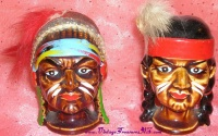 Image for Indians Salt & Pepper Shakers Set Chief & Brave Feathered Headdress Vintage ca 1940s-1970s Japan  <b><span style='color:red'>  *****PRIORITY MAIL SHIPPING INCLUDED – DOMESTIC ORDERS ONLY!*****  </span></b><span style='color:purple'>