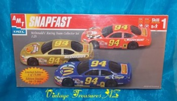 Image for  <b><span style='color:purple'>  AMT Ertl Snapfast McDonald's Racing Team Limited Edition Collector Set Model Kit #30116-1HD Scale 1:25 Three NASCAR Race Cars Set 1998 (BRAND NEW FACTORY-SEALED BOX)  </span></b><span style='color:purple'>    <b><span style='color:red'> USPS RETAIL GROUND SHIPPING INCLUDED – DOMESTIC ORDERS ONLY!</span></b><span style='color:purple'>