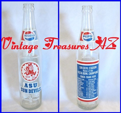 Image for Pepsi-Cola Salutes Fiesta Bowl Champs ASU (Arizona State University) Sun Devils 1972 Souvenir Commemorative Soda/Soft Drink Bottle   <b><span style='color:red'> USPS PRIORITY MAIL SHIPPING INCLUDED – DOMESTIC ORDERS ONLY!</span></b><span style='color:purple'>