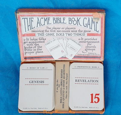 Image for <b><span style='color:purple'>   Acme Bible Book Game RARE Boxed Religious Flash Cards (Flashcards) Set Vintage ca 1930s  </span></b><span style='color:purple'>   <b><span style='color:red'>***USPS FIRST CLASS SHIPPING INCLUDED – DOMESTIC ORDERS ONLY!***</span></b><span style='color:purple'>