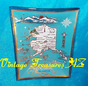 Image for Alaska Souvenir Glass Tip Tray/Pin Dish State Map with Scenic Landmarks Imagery Vintage ca pre-1970s <b><span style='color:red'>  *****PRIORITY MAIL SHIPPING INCLUDED – DOMESTIC ORDERS ONLY!*****  </span></b><span style='color:purple'>