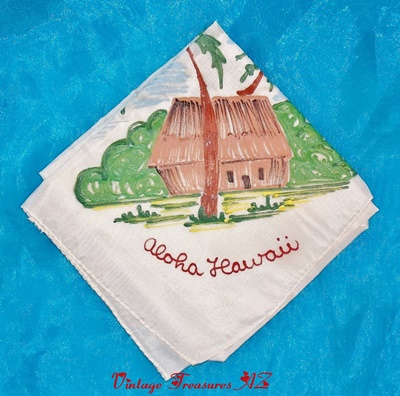 Image for <b><span style='color:purple'> Hawaiian Aloha Hawaii Handpainted Vintage Ladies' Handkerchief/Hankie Travel Souvenir (Tiki Hut, Palm Trees, Beach Imagery) </span></b><span style='color:purple'>  <b><span style='color:red'> ***USPS FIRST CLASS SHIPPING INCLUDED – DOMESTIC ORDERS ONLY!***</span></b><span style='color:purple'>