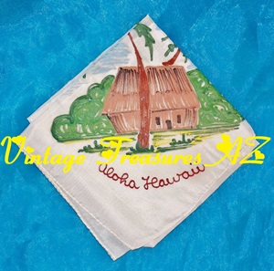 "Image for Hawaiian ""Aloha Hawaii"" Handpainted Vintage Handkerchief/Hankie/Scarf Travel Souvenir (Tiki Hut, Palm Trees, Beach)  <b><span style='color:red'> USPS FIRST CLASS SHIPPING INCLUDED – DOMESTIC ORDERS ONLY!</span></b><span style='color:purple'>"