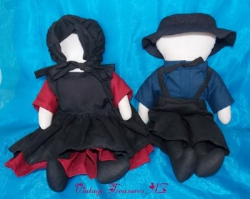 Image for <b><span style='color:purple'>   Amish Faceless Cloth Dolls Pair Pixie Enterprises Vintage 1983 - Handcrafted Size Man & Woman in Authentic Farmhouse/Prairie Outfits </span></b><span style='color:purple'>    <b><span style='color:red'> USPS PRIORITY MAIL SHIPPING INCLUDED – DOMESTIC ORDERS ONLY!</span></b><span style='color:purple'>