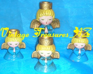 Image for Wolin Japan Praying Angels (Angel)-at-Prayer Candle Holders/Candleholders Set of 4 Vintage ca 1950s-1970s   <b><span style='color:red'> USPS PRIORITY MAIL SHIPPING INCLUDED – DOMESTIC ORDERS ONLY!</span></b><span style='color:purple'>