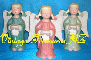 "Image for Angels ""Making a List & Checking it Twice, Gonna Find out Who's Naughty & Nice"" Vintage 1960s-1970s T. Hayes Porcelain Figurines Set of 3     <b><span style='color:red'> USPS PRIORITY MAIL SHIPPING INCLUDED – DOMESTIC ORDERS ONLY!</span></b><span style='color:purple'>"