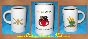 "Image for Army Garrison (USAG) ""Hohenfels 85 - 88 B. Btry 3d Bn 60th ADA Coelis Imperamus""/B (Artillery) Battery, 3rd Battalion, 60th Air Defense Artillery Regiment (Regensburg) Korb  Eberbach - Germany 24 Karat Gold Ceramic Porcelain Military Unit Commemorative Beer Stein/Mug  <b><span style='color:red'>*****SHIPPING INCLUDED – DOMESTIC ORDERS ONLY!*****</span></b><span style='color:purple'>"