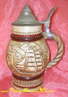 Image for Avon Clipper Ships/Schooners Limited Edition Commemorative 1776 Bicentennial Celebration Tribute Vintage 1977 Brazil Lidded Beer Stein/Mug  <b><span style='color:red'>*****PARCEL POST SHIPPING INCLUDED – DOMESTIC ORDERS ONLY!*****</span></b><span style='color:purple'>