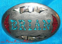 Image for BRIAN Inlaid Mosaic Stones & Heavy Silver Metal Southwestern-Design Vintage Personalized Name Belt Buckle <b><span style='color:red'>  *****FIRST CLASS SHIPPING INCLUDED – DOMESTIC ORDERS ONLY!*****  </span></b><span style='color:purple'>