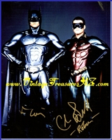 "Image for Batman Forever Movie Val Kilmer & Chris O'Donnell in ""Batman & Robin"" Costumes Hand-Signed, Autographed (Autograph) Color Photograph (TWO Autographs on Photo)    <b><span style='color:red'>*****FIRST CLASS SHIPPING INCLUDED – DOMESTIC ORDERS ONLY!*****</span></b><span style='color:purple'>"