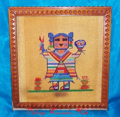 Image for <b><span style='color:purple'>   Beaded Finished Needlepoint Southwestern Native American Indian Girl & Snowmen Kachina Doll Framed 100% Hand-beaded Picture Vintage ca 1940s-1960s </span></b><span style='color:purple'>   <b><span style='color:red'>***USPS PRIORITY MAIL SHIPPING INCLUDED – DOMESTIC ORDERS ONLY!***</span></b><span style='color:purple'>