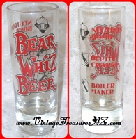 Image for Bear Whiz Beer Tall Shot Glass & Measures: Neutron Bomb, Depth Charge, Boiler Maker <b><span style='color:red'>  *****PRIORITY MAIL SHIPPING INCLUDED – DOMESTIC ORDERS ONLY!*****  </span></b><span style='color:purple'>