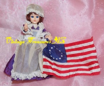 Image for <b><span style='color:purple'> Betsy Ross Flagmaker Vintage 1960s-1970s Carlson Dolls American History Series 8-120 American Revolutionary War-era Costume Doll with Stand & Flag </span></b><span style='color:purple'>  <b><span style='color:red'>*****USPS PRIORITY MAIL SHIPPING INCLUDED – DOMESTIC ORDERS ONLY!*****</span></b><span style='color:purple'>