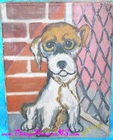 "Image for Big-Eyed ""Pity Puppy Dog"" Vintage 1960s-1970s Replica Painting by H. Friou of Renowned Mantelpiece Artist Gig's Famous ""Escape"" Painting    <b><span style='color:red'>*****PARCEL POST SHIPPING INCLUDED – DOMESTIC ORDERS ONLY!*****</span></b><span style='color:purple'>"