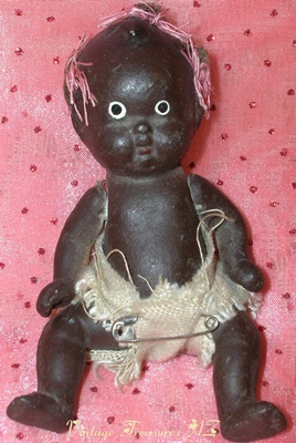 Image for <b><span style='color:purple'>   Black Americana Bisque Baby Girl Strung Jointed Japan Doll Vintage ca 1920s-1930s  </span></b><span style='color:purple'>   <b><span style='color:red'>***USPS FIRST CLASS SHIPPING INCLUDED – DOMESTIC ORDERS ONLY!***</span></b><span style='color:purple'>