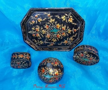 Image for <b><span style='color:purple'>   Japanese Lacquerware Vintage 1950s-1960s 7-Piece Dresser Set (Vanity Tray + Covered Powder Boxes & Trinket Boxes) Oriental Birds Nature Flora Fauna Design  </span></b><span style='color:purple'>   <b><span style='color:red'>***USPS PRIORITY MAIL SHIPPING INCLUDED – DOMESTIC ORDERS ONLY!***</span></b><span style='color:purple'>