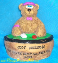"Image for Blackjack Dealer Teddy Bear ""Happy Bearthday. Hope You're Dealt All Aces & Faces"" Bears Etc. 1992 Hand-sculpted Customized Figural Paperweight Birthday Gift   <b><span style='color:red'>***USPS PRIORITY MAIL SHIPPING INCLUDED – DOMESTIC ORDERS ONLY!***</span></b><span style='color:purple'>"