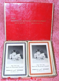 Image for Bonnelle's Famous Restaurant Belleville, Illinois Vintage ca 1930s-1950s Advertising Playing Cards Double Decks Boxed Set  <b><span style='color:red'>  *****FIRST CLASS SHIPPING INCLUDED – DOMESTIC ORDERS ONLY!*****  </span></b><span style='color:purple'>
