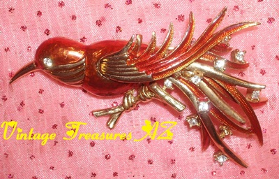 Image for <b><span style='color:purple'>  Boucher Bird Brooch/Pin Enameled Orange-Red + Clear Rhinestones + Goldtone Metal Vintage Costume Jewelry 1955-1971 Signed ©Boucher Cartouche </span></b><span style='color:purple'>   <b><span style='color:red'> USPS FIRST CLASS SHIPPING INCLUDED – DOMESTIC ORDERS ONLY!</span></b><span style='color:purple'>